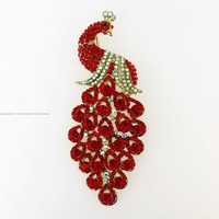 Large crown Fashion vogue red ruby bling crystal rhinestone feather peacock phoenix bird peafowl pin gold brooch jewelry