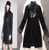 2015 autumn winter warm  long woolen women coat Elegant  V-NECK black plus size slim trench coat for women cashmere coat