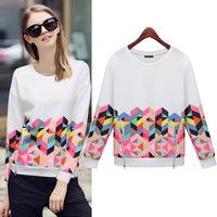 New 2014 Fashion Geometric Printed Double Zippers Hem Full-sleeve Sweatshirt Women's White Sweatshirts Autumn Fleece Sweatshirt