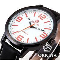 Elegant ORKINA White Orange Dial Black Leather Band Relogio Round Stainless Steel Case Analog Quartz Men Business Watch / ORK045
