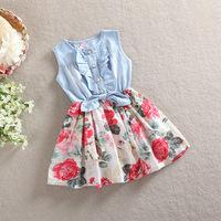 Momo - Children's summer 2014 new Girls cowboy dress . 100% cotton dress. big flower Denim Dress