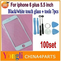 DHL Free Shipping, 100set Front Glass Lens Replacement For iPhone 6 plus 5.5'' inch Outer Screen Glass Cover Black/White+Tools