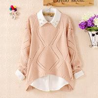 2014 Autumn New Sweet Crochet Diamond Lattice Hollow Sweater Women Solid Knitted Pullover Sweaters SW1093