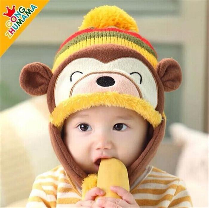 2014 Autumn Winter New Christmas Cartoon Monkey Plus Velvet Ear Newborn Knitting Cap Wool Baby Hat Children Free Shipping QL5058(China (Mainland))