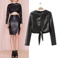 2014 New arrival Ladies' Sexy faux leather black t-shirt elegant bow short T shirt  casual slim brand designer tops