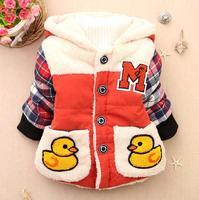 Free shipping Retail Winter new children plus thick velvet plaid long-sleeved sweater baby unisex little bear set hooded coat