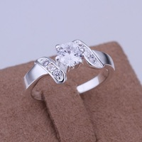 Free Shipping 925 Sterling Silver Jewelry Ring Fine Fashion Silver Plated Zircon Women&Men Finger Ring Top Quality SMTR155