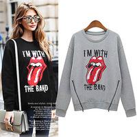 New 2014 Autumn Fleece Sweatshirt Women's Sweatshirts Fashion Lip Printed Double Zippers Hem Long Sleeve Sweatshirt Fall Clothes