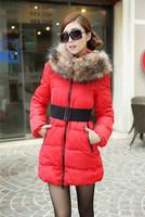 women jacket 2014 new brand warm winter outerwear women down fur hood solid color autumn coat  fashion long slim parka female