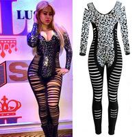 Hot New Fashionable Gold Blocking Nightclub Jumpsuit European and American Sexy Fishbone Skinney Black Leopard Women Bodysuits