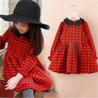 C Xmas Cute Girl's Baby Plaid Cotton Long Sleeve Red Princess Dress Shirt Collar Tops Christmas Kids Girts Dresses Free