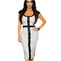New arrival, High quality! Fashion short sleeve patchwork Dress, Clubbing Dresses, Size S/M/L/XL, DL6514