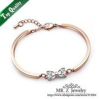 Promotion Price Real 18K GP Lovely Zircon Bowknot Fashion Bracelet Jewelry 10pcs/lot Free Shipping