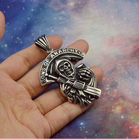 Large SONS OF ANARCHY Pendant in 316L Stainless Steel NO MOQ for Punk Mens HD Motorcycle Bikers to be Fashion Necklace