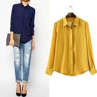 2014 New arrival Ladies' elegant brief Office Lady blouses vintage turn down-collar long sleeve shirts casual slim brand tops