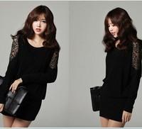 M-4XL 2014 Spring Autumn Ladies Sexy Plus Size XXXXL Batwing Long-sleeve Lace Cotton Slim Hip Short Dresses