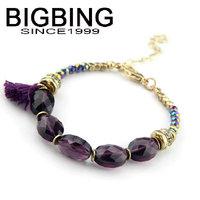 BigBing jewelry Fashion purple crystal beads  Bracelet  fashion jewelry good quality nickel free Free shipping! B525