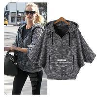 L-5XL 2014 European Women Plus Size XXXXL Batwing Sleeve Hooded Zipper Stripe Cardigan Knitted Sweater Jacket Coat