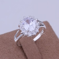Free Shipping 925 Sterling Silver Jewelry Ring Fine Fashion Silver Plated Zircon Women&Men Finger Ring Top Quality SMTR145