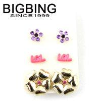 BigBing Fashion Rose flower Earrings 3 pair Earrings fashion earring fashion jewelry nickel free Free shipping! B519