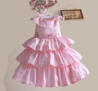 Wholesale Satin Baby Party Dress Diamond Flower Girl Dress High Quality Children Princess Dress 2-7T