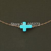 turquoise cross necklace bracelet, 5pcs/lot