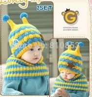 2pcs/Set New Knit Winter Hat For Children Cap Earflap Kids Bee Styles Beanies Hat Scarf Set Children Christmas Gift #1116