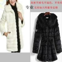 Fur coat medium-long 2014 female rabbit slim fox fur