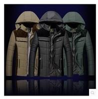 Men Jackets 2014 Brand Fashion Down & Parkas Outdoor Hood Warm Windproof Winter Jacket Men Casual Men's Jacket
