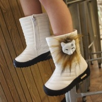 2014 Child Snow Leather Boots Fox Fur Girls Child Winter Boots Female Warm Cotton-Padded Shoes Kids Fashion Shoes Boots