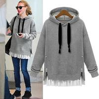 S-XXL 2014 Autumn Winter Thick Velvet Women Hoodie Jacket Coat Plus size Warm Outerwear Patchwork Hooded Casual Sweatshirts