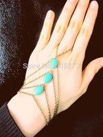 turquoise charms bracelet, alloy multilevel finger bracelets