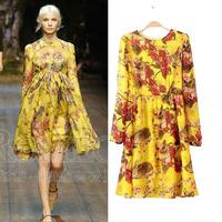 European T-show 2014 autumn new stars and the retro printed folds slim fit long sleeve chiffon dress V