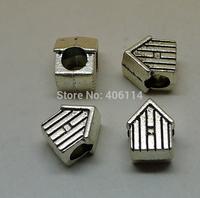 12 Pcs Antique Silver Pretty House Beads Big Hole 12x8.5x7.5mm For European Bracelets DIY A2491