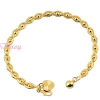 5mm Women Girls 18K Yellow Gold Filled Beaded Bracelets Chain S Clasp  Heart Bell Charm Jewelry