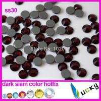Imitations to Swarov hotfix rhinestones 288pcs ss30 Top quality crystal DMC deep siam color iron on strass Free shipping