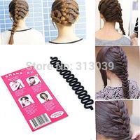 Free shipping 2pcs Women Fashion Hair Styling Clip Stick Bun Maker Braid Tool Hair Accessories H6552 P
