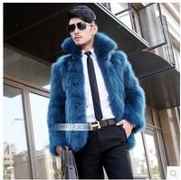 2014 male Men faux fox fur overcoat with a hood short design leather coat
