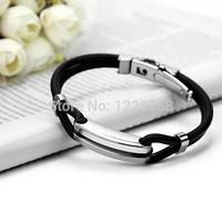 2014 New Brand Stainless Steel Rubber Bracelets Men/Casual Black Bracelets Men/Designer Men Fashion Jewelry H5064 P