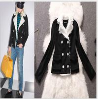 Winter jacket women casual 2014 new fashion women coat ,elegant v-neck woollen warm woman clothes  jacket brand chaquetas free