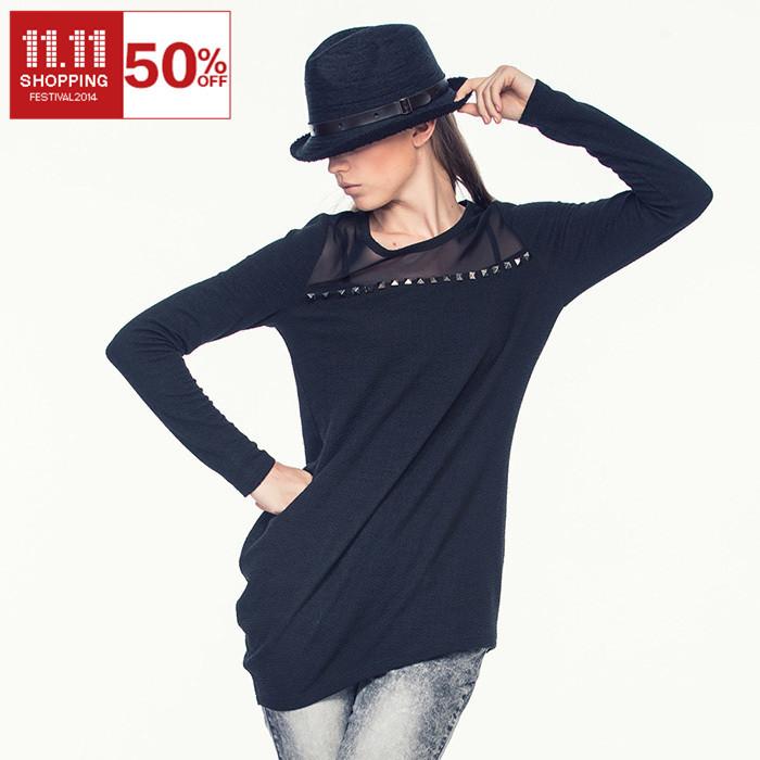 2014 outono inverno malha volta do pescoço cheio luva de malha de algodão mulheres camiseta com rebites streetstyle mulheres blusa casual(China (Mainland))