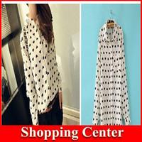 Freeshipping 2014 Fashion Women Chiffon Blouses Love Heart Print Turn-down Collar Long Sleeve Shirt dropshipping
