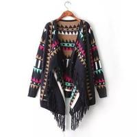 2014 New arrival Ladies' Elegant Geometric print Knitted cardigan coat casual slim long sleeve tassel outerwear brand  tops