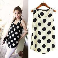 Women's Sleeveless Polka Dots Vest Tank Top Chiffon Blouse Primer Shirt 2 Colors Free shipping 13854