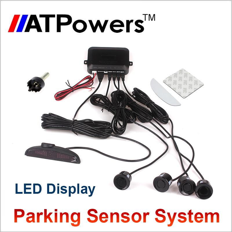 LED Display 4 Sensors Hole Saw Drill Car Parking Sensor Kit 22mm 12V 7 Colors Reverse Assistance Backup System(China (Mainland))