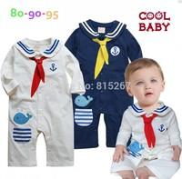 Newborn Navy Style Baby Boy Girls Long Sleeve One-Piece Romper Kid's Cartoon Dolphin Sailor Bodysuits Jumpsuit Children Clothing