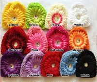 20pcs Daisy Flower Rhinestone Baby Kids Children crochet Knitted Caps Beanie Hat 19 Color For choose