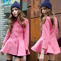 Hot Sale New 2014 Fashion Ruffle Hem Double Breasted Full-sleeve Woolen Coat Women's Wool Coats Autumn Winter Wool Outerwear