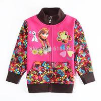 Best-selling Frozen Children's Girls Coats Cartoon Elsa&Anna Long sleeve Girl's Outerwear Cotton Beautiful girl's Jackets 2Y-6Y