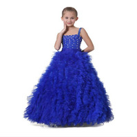 2015 New Design Floor Length Real Pictures Royal Blue Organza Beads Ball Gown Flower Girls' Dresses Girls Pageant Dresses